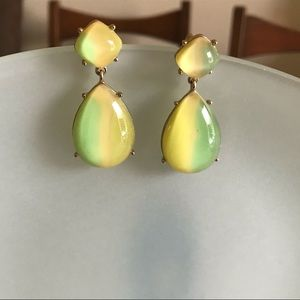 Vintage Citrus Yellow Lime Teardrop Earrings
